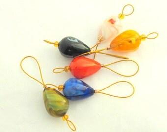 Bead Knitting Stitch Markers - Set of 6 Handmade Stitch Markers - Glass Drop Beads