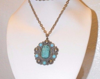 Vintage Blue Green Faience Scarab Beetle Egyptian Revival Pendant Necklace Large Statement