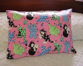 Whimsical Kitty Cats Pink Flannel Li'l Toddler Pillowcase -Playful Calico Cats Travel Lumbar Cover for 12 x 16 Pillow -Dragonfly Polka Dot
