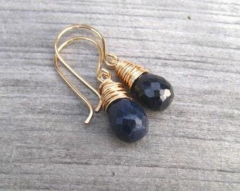 14K Gold Filled Sapphire Earrings,  September Birthstone Jewelry, Navy Blue Dangle Earrings, Genuine Sapphire Stone