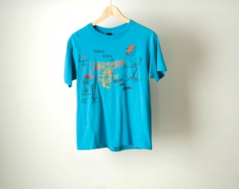 vintage GRAND CANYON bear with it faded blue climbing hiking t-shirt