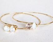Swarovski Crystal Bridal Bracelet- Bridal Bangle Bracelet- Bridesmaid Bracelet- Bridesmaid Gifts