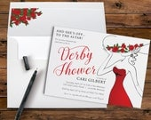 Derby Shower Invitation with Red Roses and Large Hat for a Bridal Shower or Kentucky Derby Party PRINTABLE DIGITAL or PRINTED
