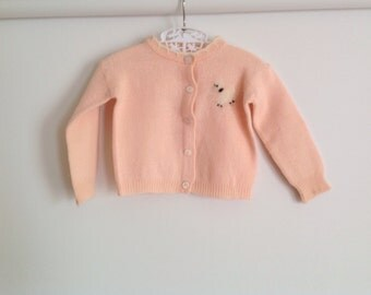 Vintage Peach Baby Sweater with a Felted Dog // 1960s