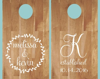 Cornhole Decals- Wreath with Names Initial Est. Date - Wedding Cornhole- Anniversary- Birthday-Personalized Cornhole- Custom Cornhole Decals