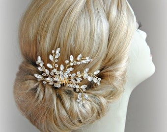 Gold Crystal Bridal Comb, Crystal Rhinestones and Beads Wired Hair Comb, Wedding Headpiece, Silver or Gold - LACEY