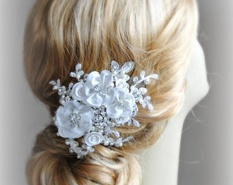 Ivory Fascinator, Bridal Fascinator, Wedding Hair Clip, Hair Flowers with Rhinestones and Pearls - INGENUE