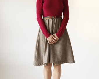 Cranberry Red and Plaid Circle Skirt Dress w/ Pockets - Eco Friendly Womens Apparel by Tammy Jo Fashion