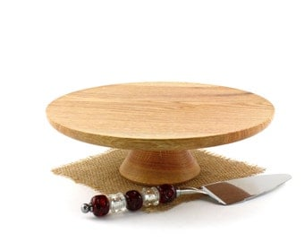 "12"" Wooden Red Oak Cake Stand, Wooden Wedding CakeStand,  Pedestal Cake Plate ,Cupcake Stand"