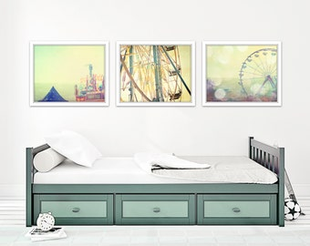 carnival art set of 3 prints, carnival nursery art boy, carnival wall art photos, blue and green art, ferris wheel art, toddler boy room