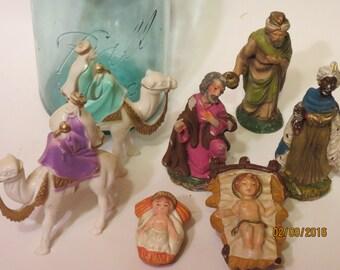 Lot of Vintage and Antique Nativity Figurines/Baby Jesus/ Camels/ Ceramic/Plastic