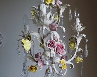 Rare 50s Italian tole petit ivory chandelier, porcelain flowers, roses, shabby chic, glass crystal drops