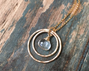 Rock crystal necklace gold, April birthstone jewelry gold infinity necklace for daughter gift for goddaughter - Celeste