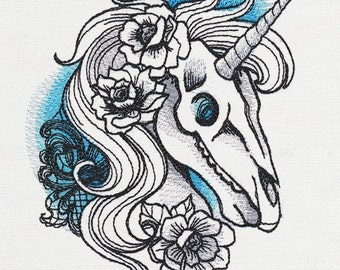 Phantasm - Unicorn Skull Embroidered Cotton Kitchen Towel, gothic