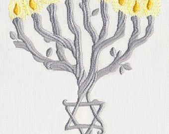 Menorah Tree Embroidered Cotton Kitchen Hand Towel