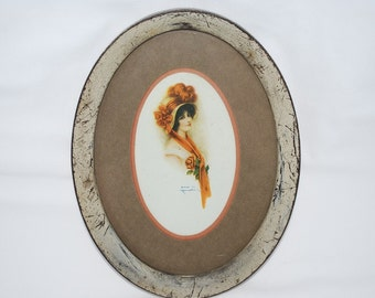 "Vintage 1910's J. Knowles Hare Art Nouveau Oval Print Young Woman in Hat Orange Sash Bow Roses Original Metal Frame Signed Print - 9"" by 7"""
