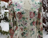 1980's Cabbage Rose Tapestry Jacket Blouse Top Ivory Lace Victorian Size 14 Faux Pearls Bridal Wedding
