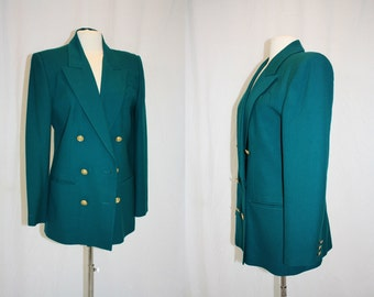 1980's Teal Jacket Doublebreasted Wool Size 8 Goldtone Buttons Vintage Retro 80s Hipster Fall Office Suit Preppy