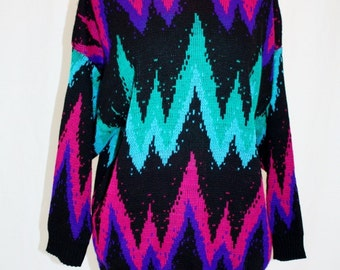 1980's Black Zig Zag Sweater Pullover 22W Vintage REtro 80's Fuchsia Purple Turquoise Green Abstract Acrylic Hipster Gem Colors