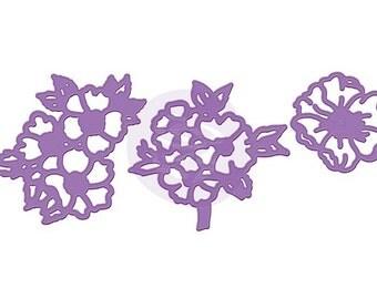 Prima Purple Metal Dies Set of 3  OPEN FLOWER Cluster Flowers Intricate Detail