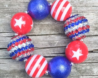 4th of July Chunky Bracelet, Red White and Blue Bracelet, Patriotic Jewelry, July 4th Bracelet, Beaded Bracelets, Girls Chunky Jewelry