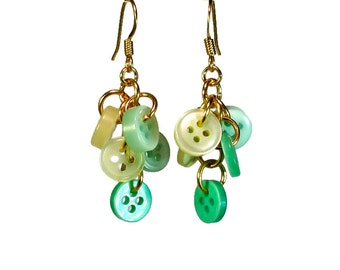 Repurposed Button Dangle Earrings Mint Light Green Upcycled Jewelry