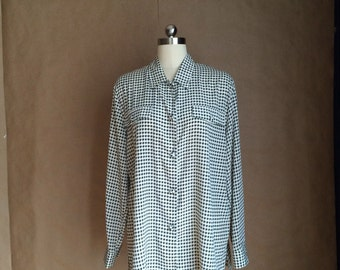 vintage 1990's houndstooth oversized blouse / womens shirt / box cut / button down / 90's chic