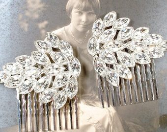 OOAK Art Deco Vintage Rhinestone Bridal Hair Comb 1/Pair 1940 Silver Marquise Paste Crystal Leaf Dress Clip Hairpiece Hollywood Glam Wedding