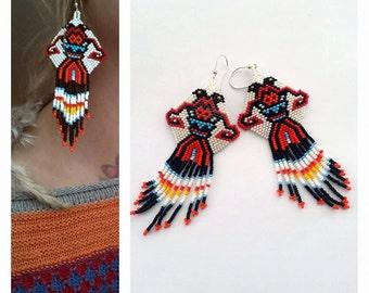 Two headed crow, peyote stitch earings