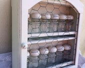 White Spice Rack Jars Glass Jars Chickenwire Farmhouse
