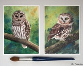 Two Owl Watercolor Prints, Barred Owl and Saw-whet Owl- Fine Art Archival Prints- Signed Giclées- Bird Paintings by Laura D. Poss