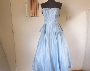 Vintage 50's Strapless Cocktail Dress, AS-Is Fixer Upper or for Study or Pattern,  Ice Blue Silk Taffeta, Petal Bust, Full Skirt