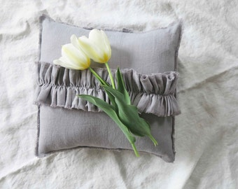 linen pillow, gray, linen ruffle pillow, gray linen pillow, throw pillow,
