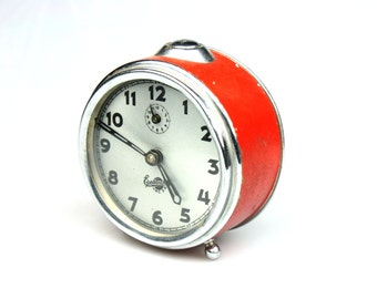 Vintage alarm clock Sevani from Armenia, red clock, Soviet era alarm clock, mechanical clock