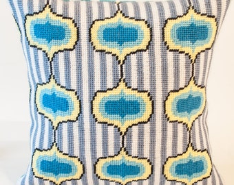 Ogee with Stripes Needlepoint Kit with Stitch Painted Canvas