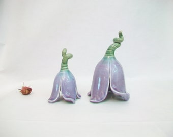 Fairy or Toad Flower Houses - Purple Flowers - Handmade, Wheel Thrown, Hand Carved - Ready to Ship