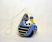 Blue Budgerigar, needle felted ornament ball, MADE TO ORDER