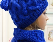 HAT AND COWL Set : Ladies, Royal Blue,  hand knitted in a soft bulky knit yarn, cable pattern stitch