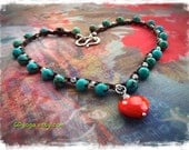 HEART and Soul Necklace Compassion LOVE necklace Turquoise beaded CROCHET necklace gemstone jewelry Cowgirl Layering jewelry GPyoga