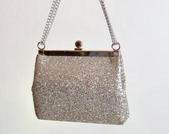 Vintage 60s GLITTER Purse / 1960s Silver Glitter Bag