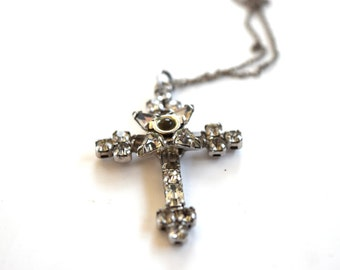 Vintage Sterling Silver Rhinestone Cross Necklace c.1930s