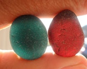 Turquoise/Red Beautiful English Seaham Sea Glass - Free Shipping (4821)
