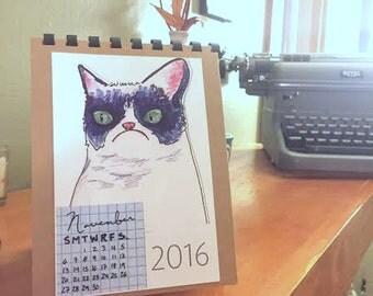 2016 Cat Calendar -cats of the internet calendar new year calendar for cat lovers, desk calendar, January lil hub, angry cat, Nyan cat more