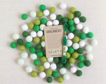 Felt Pom-Poms // Emerald Palette // Green Wool Felt Balls, Christmas Garland Kit, Holiday Felt Beads, Green Party Decor, DIY Felt Jewelry