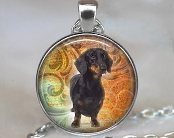 Black Dachshund necklace, weiner dog necklace, dog lover necklace, dog lover jewelry, Dachshund jewelry key chain key fob