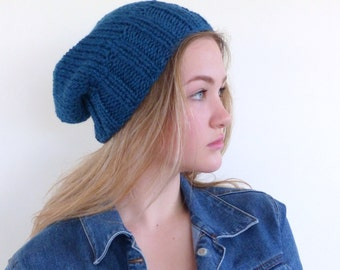 Blue knit hat  Blue hand knitted slouch beanie  Blue slouch hat Winter hat Blue Mens knit hat
