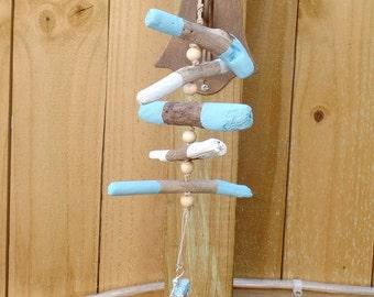 Blue Driftwood Mobile - Beach Decor - Driftwood Hanging - Beach Mobile