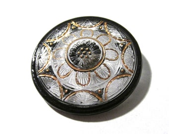 Czech Glass Flower Button Hand Painted Black Clear Glass Gold Luster VINTAGE One (1) 36mm Flower Czech Glass Button Jewelry Supply (F85)