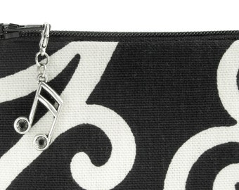 Music note purse charm - metal zipper pull for bags hardware - US shop