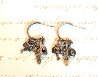 Southwestern Sterling Silver Pierced Earrings Dangle Cowboy Vintage Jewelry